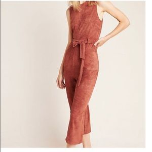Anthropologie Suede Jumpsuit Small